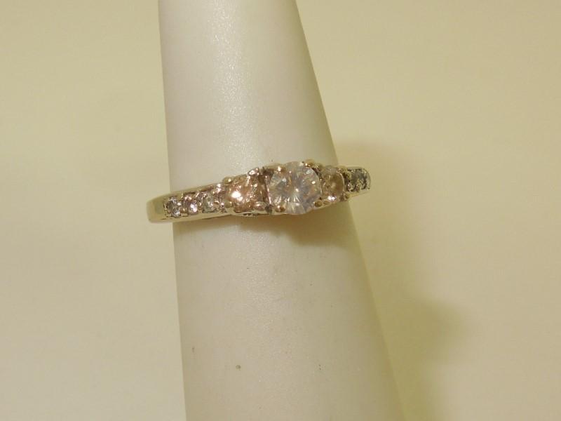 Lady's Diamond Engagement Ring 9 Diamonds .46 Carat T.W. 14K White Gold 2.3g