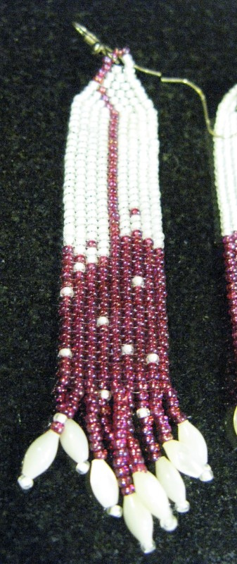 """LOCAL HAND MADE POW-WOW BEADED ROSE FEATHER STYLE EARRINGS. 3.75"""""""