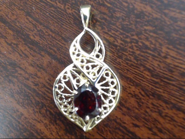 VINTAGE OVAL CUT GARNET FILIGREE PENDANT CHARM SOLID REAL 14K GOLD
