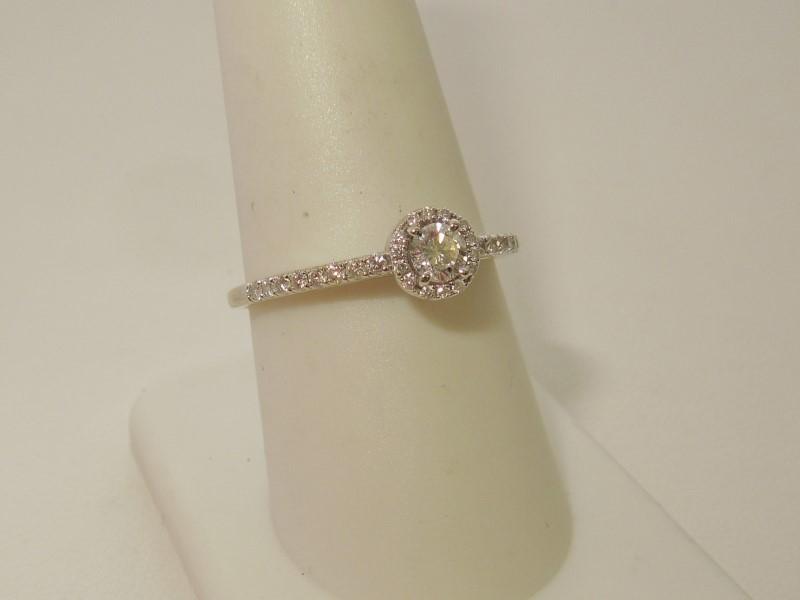 Lady's Diamond Engagement Ring 31 Diamonds .66 Carat T.W. 14K White Gold 2.3g