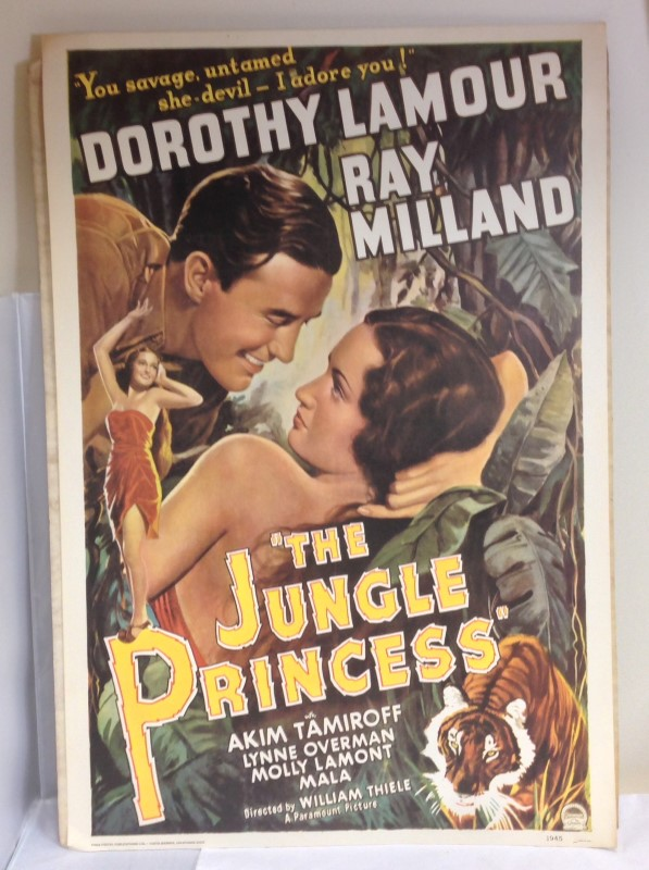 THE JUNGLE PRINCESS MOVIE POSTER 1976 PORTAL PUBLICATIONS LTD