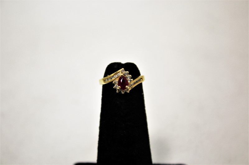 Lady's Ruby & Diamond Ring 19 Diamonds .38 CTW14K Yellow Gold Size: 3.8