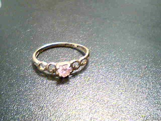 Pink Stone Lady's Stone Ring 10K Yellow Gold 1.2g