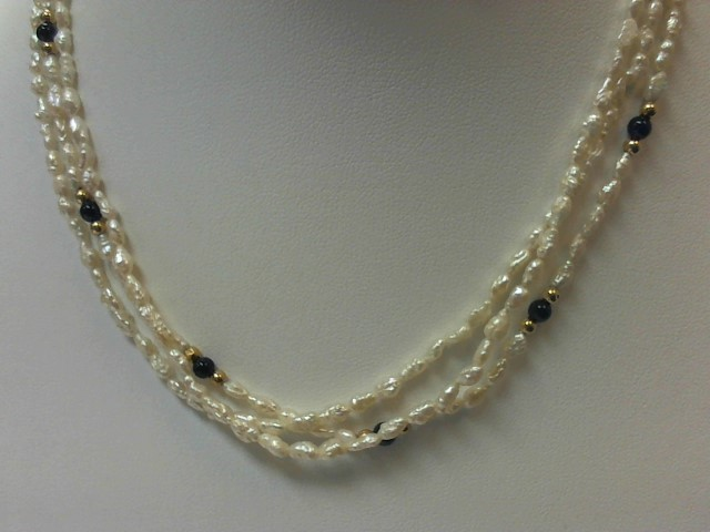 "16"" Pearl Strand Stone Necklace 14K Yellow Gold 14.4g"