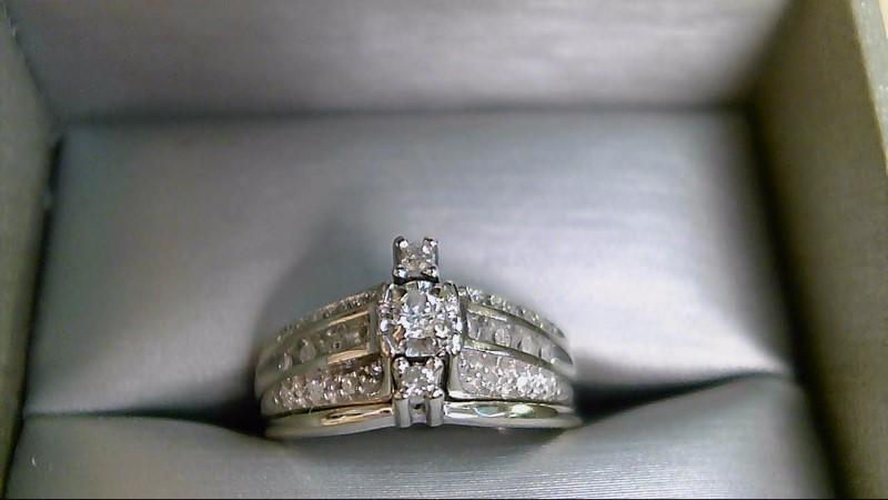 Lady's Diamond Wedding Set 27 Diamonds .28 Carat T.W. 10K White Gold 4.6g