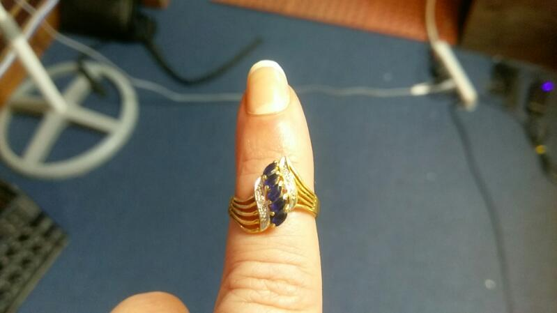 Lady's Synthetic Sapphire Stone Ring 14K Yellow Gold 2.3g Size:5.5