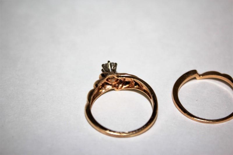 Lady's Diamond Wedding Set 7 Diamonds .44 Carat T.W. 14K Yellow Gold 5.7g