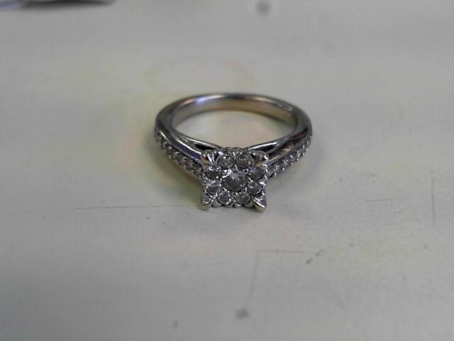 Lady's Diamond Fashion Ring 17 Diamonds .27 Carat T.W. 14K White Gold 3.6dwt