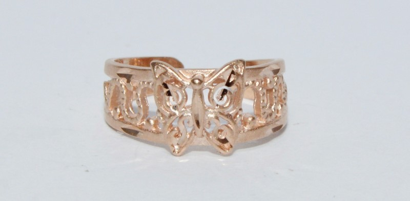 10K Rose Gold Open Work Milgrain Detail Butterfly Little Toe Ring sz 2 Fall