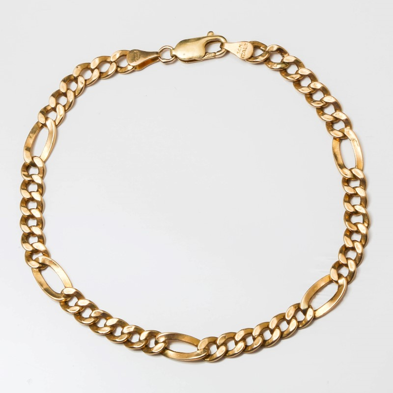 "9"" 14K Yellow Gold Figaro Chain Bracelet"