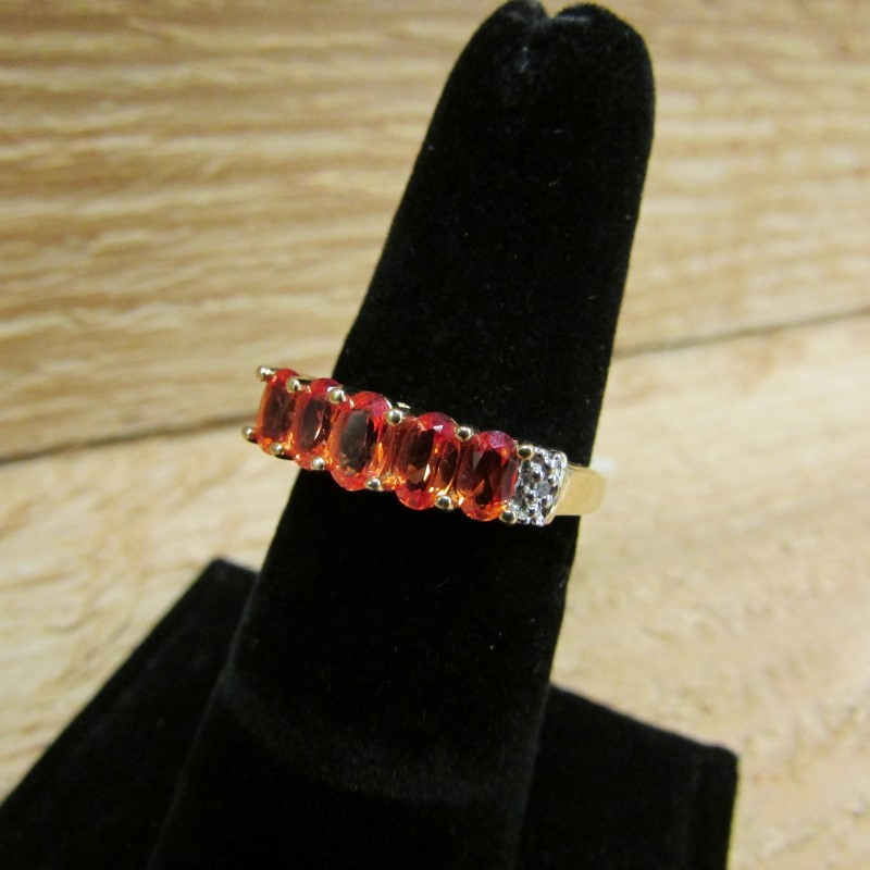 Orange Stone Lady's Stone & Diamond Ring 2 Diamonds .02 Carat T.W.
