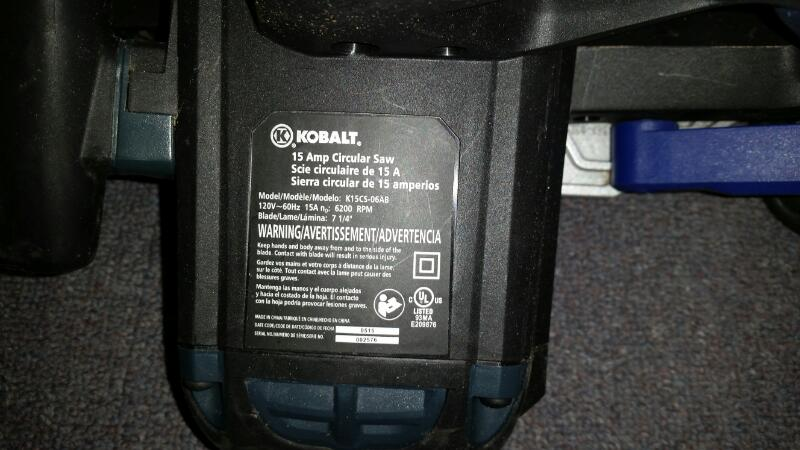 "KOBALT K15CS-06AB CIRCULAR SAW 7 1/4"" BLADE ELECTRIC BRAKE"