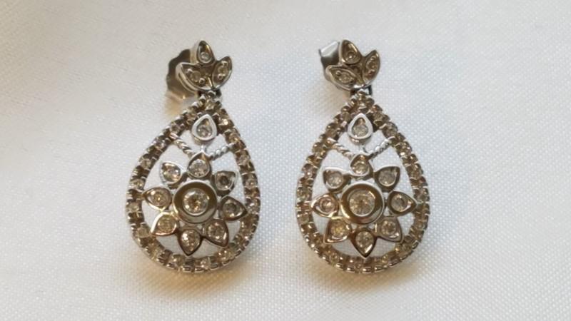 Art Deco Style Pear Shapped 0.84 TCW Diamond Stud Earrings 14k