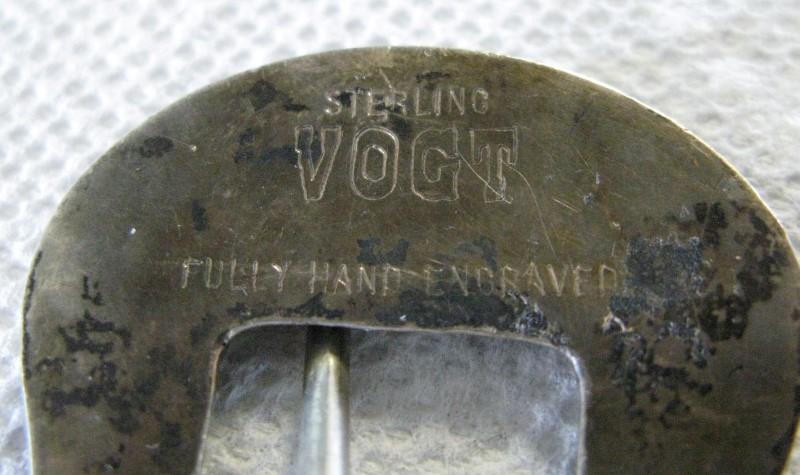 VOGT STERLING SILVER HAND ENGRAVED WESTERN BUCKLE