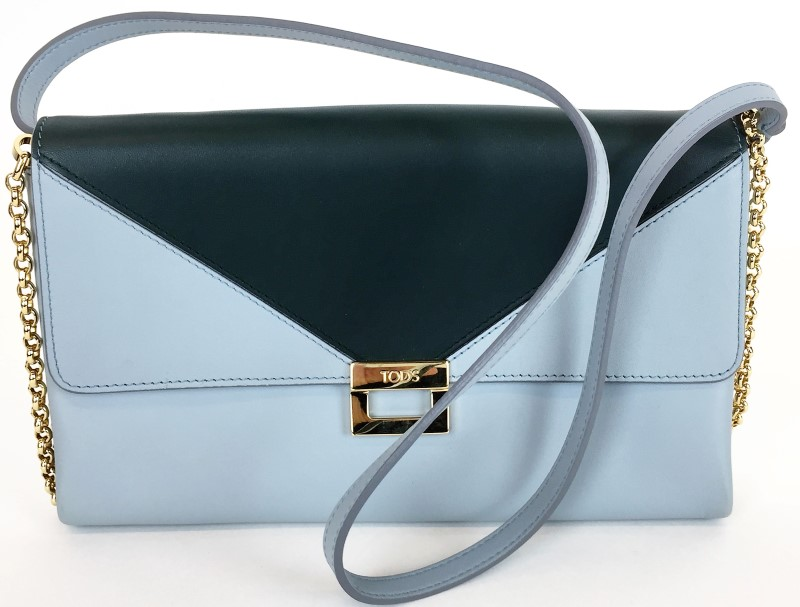 TOD'S D-CUBE BLUE LEATHER CROSSBODY BAG