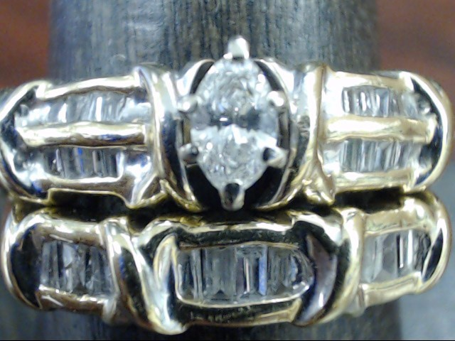 MARQUISE DIAMOND 0.56 TCW WED SET RING BAND 14K GOLD 8.2g SIZE 9.25