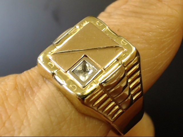 VINTAGE CZ SIGNET RING SOLID 10K GOLD ITALY TRI COLOR MENS SIZE 12.5