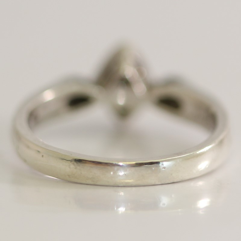 Sterling Silver Round Brilliant Diamond Ring Size 7