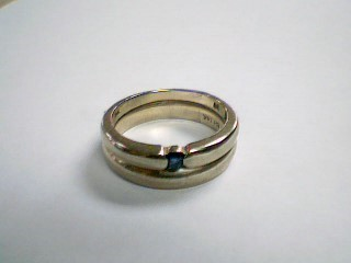 Blue Stone Lady's Stone Ring 14K White Gold 6.6g Size:7.5