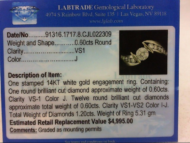 Lady's Diamond Engagement Ring 13 Diamonds 1.20 Carat T.W. 14K White Gold 5.31g
