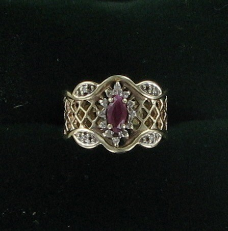 Ruby Lady's Stone & Diamond Ring 16 Diamonds .16 Carat T.W. 10K Yellow Gold