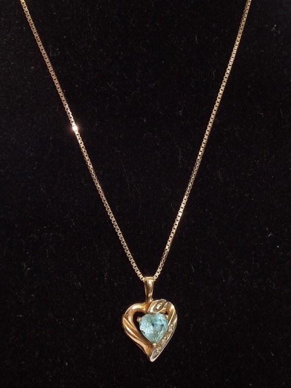 Synthetic Aquamarine Diamond & Stone Necklace 2 Diamonds .02 Carat T.W.