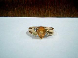 Orange Stone Lady's Stone & Diamond Ring 2 Diamonds .04 Carat T.W.