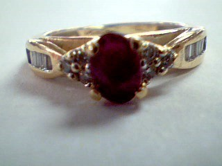 Red Stone Lady's Stone & Diamond Ring 18 Diamonds .42 Carat T.W.