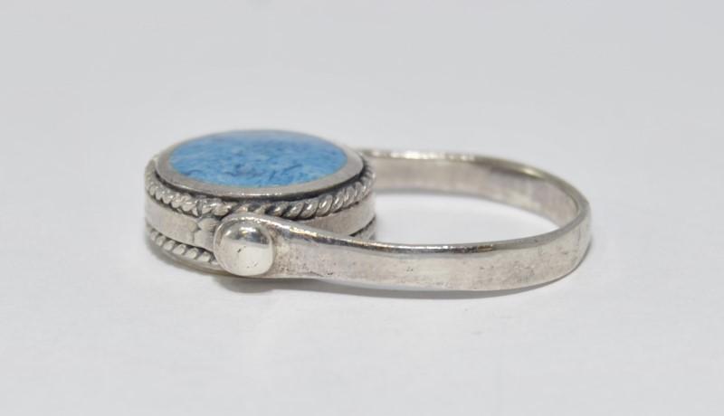 Sterling Silver Sky Blue Enamel Reversible Rope Detail Spinning Ring sz 8.75