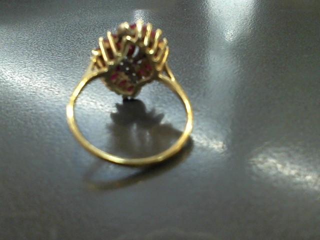 Red Stone Lady's Stone & Diamond Ring 12 Diamonds .12 Carat T.W. 9K Yellow Gold