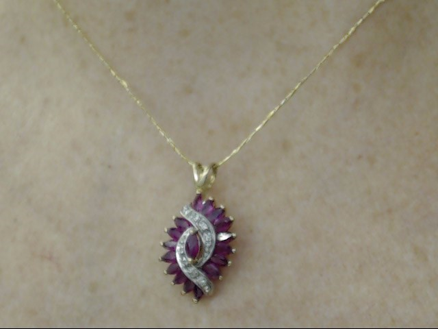 VINTAGE MARQUISE RUBY DIAMOND CLUSTER PENDANT CHARM SOLID 14K GOLD