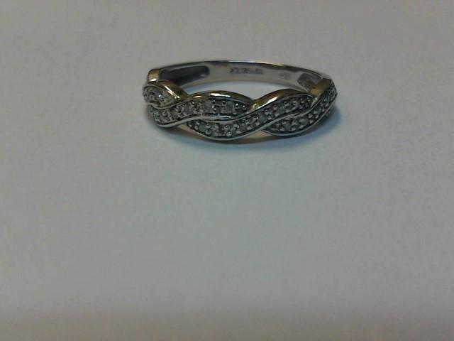 Lady's Gold-Diamond Anniversary Ring 25 Diamonds .150 Carat T.W. 10K White Gold