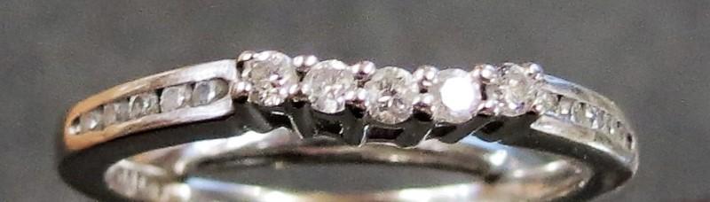 Lady's Gold-Diamond Ring Guard 15 Diamonds .20 Carat T.W. 14K White Gold