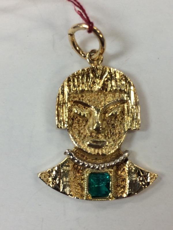 Aztec Emerald Gold-Stone Pendant 18K Yellow Gold 5.5g