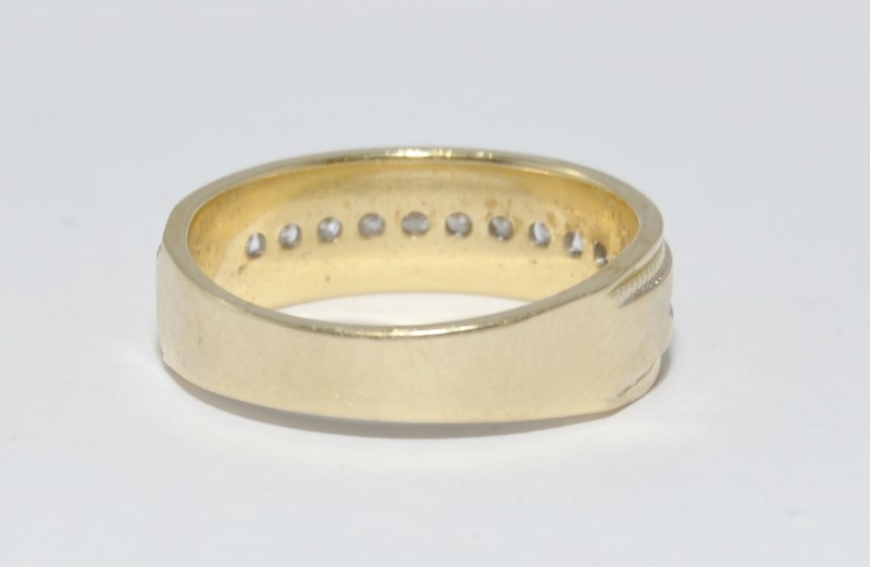 14K Yellow Gold Men's Channel Set Diamond Milgrain Wedding Band sz 10.5