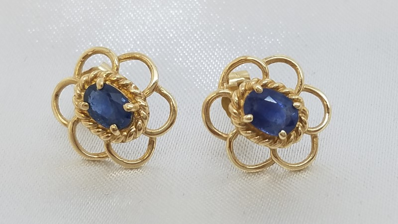 Sapphire Gold-Stone Earrings 14K Yellow Gold 1.8g