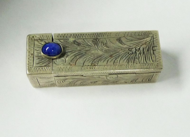 VINTAGE STERLING SILVER LIPSTICK CASE WITH BLUE CABOCHON STONE & MIRROR