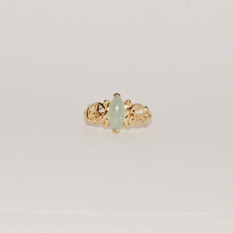 Jade Lady's Stone Ring 10K Yellow Gold 2.38g Size:7.3