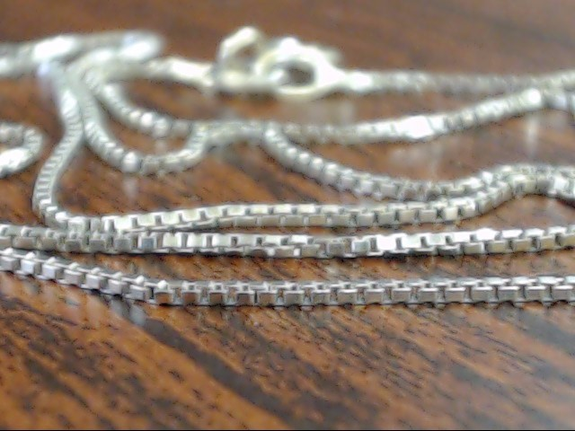"ESTATE 18"" CLASSIC BOX NECKLACE CHAIN SOLID REAL 14K WHITE GOLD THIN"