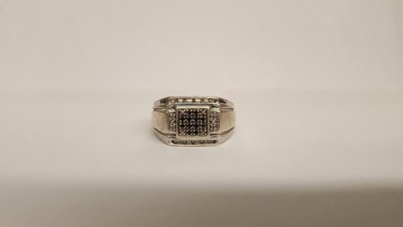 Gent's Silver-Diamond Ring 12 Diamonds .12 Carat T.W. 925 Silver 8.63g