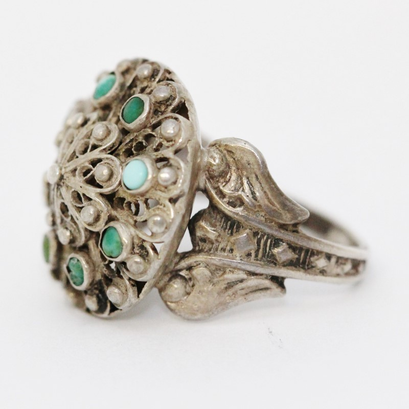 Sterling Silver Vintage Inspired Green Turquoise Filigree Wheel Ring size 8.5