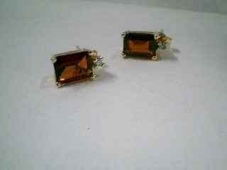 Synthetic Almandite Garnet Gold-Diamond & Stone Earrings