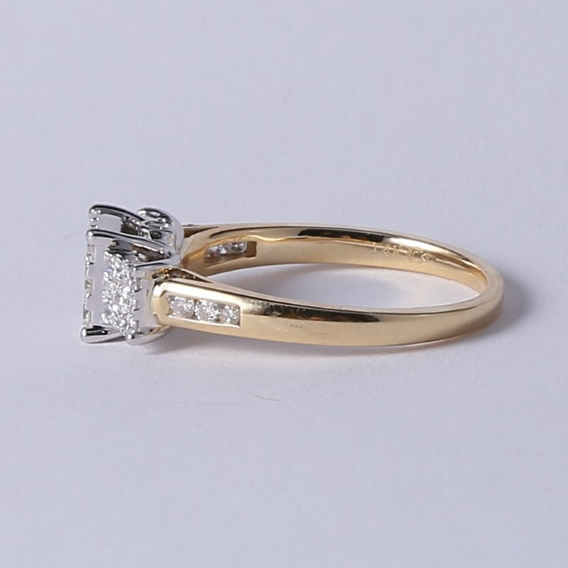 14K Yellow Gold Round Brilliant Diamond Cluster Ring Size 7