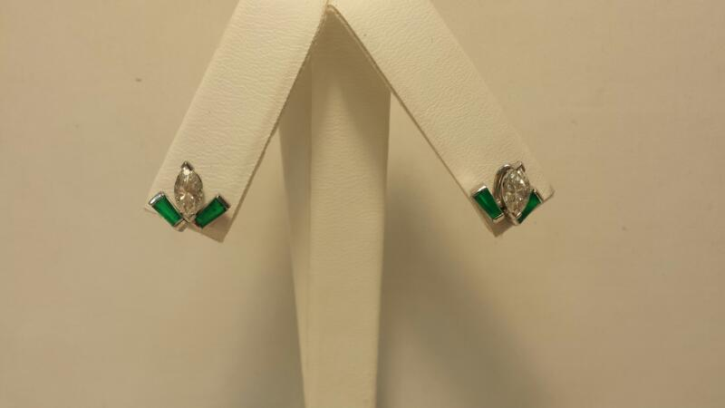 10k White Gold Earrings with 2 Diamonds at .94ctw & 4 Green Stones 1.8dwt - Pair