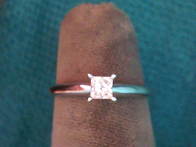 Lady's Diamond Solitaire Ring 2 Diamonds .30 Carat T.W. 10K White Gold 1.2dwt