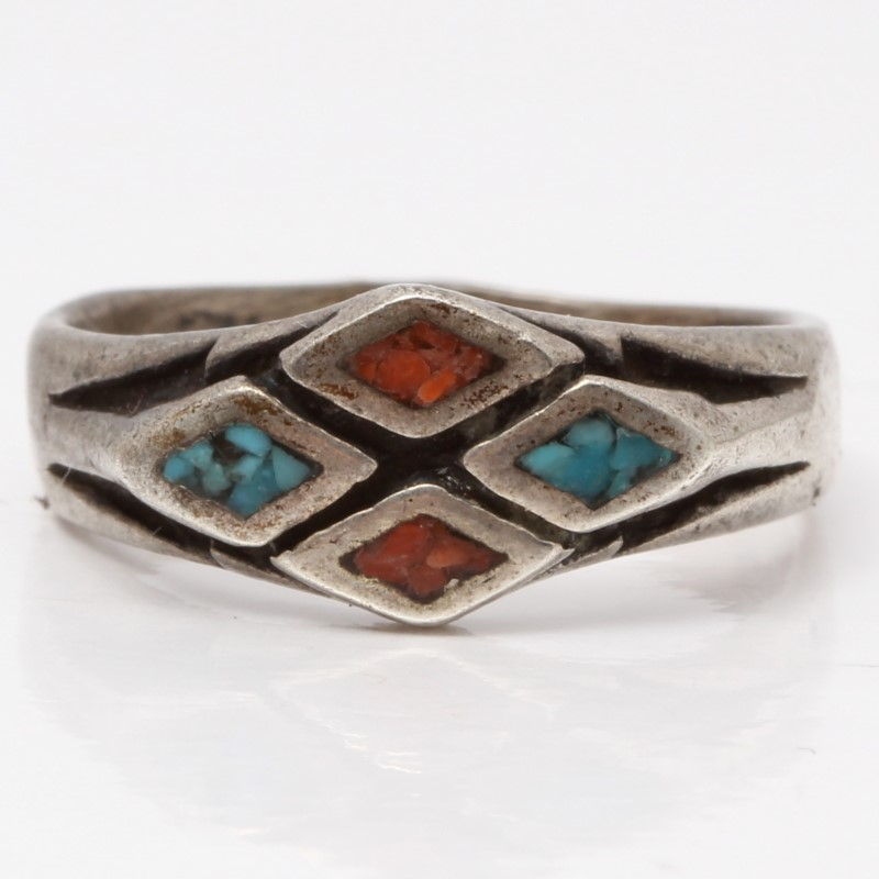 Tribal Inspired Sterling Silver Blue & Red Stone Ring SIze 7.5