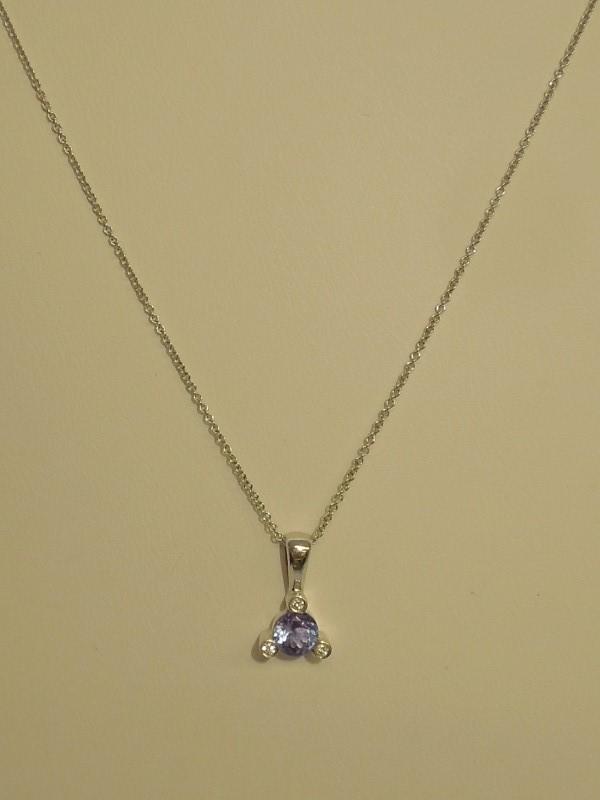 Tanzanite Diamond & Stone Necklace 3 Diamonds .03 Carat T.W. 14K White Gold