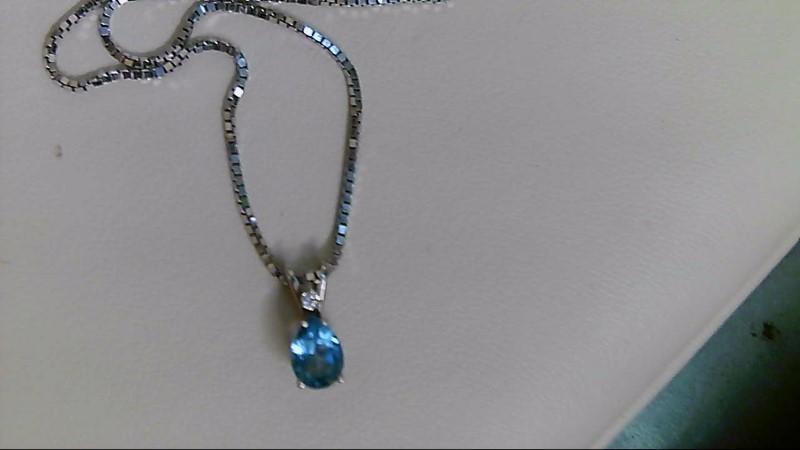 Synthetic Blue Topaz Diamond & Stone Necklace .01 CT. 14K White Gold 4.1g