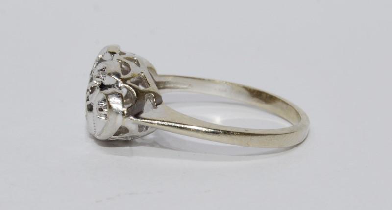 14K White Gold Vintage Inspired Diamond Cut Swirl Heart & Diamond Ring sz 5.5