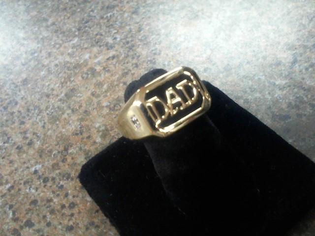 Gent's Diamond Cluster Ring 3 Diamonds .03 Carat T.W. 10K Yellow Gold 11.4g